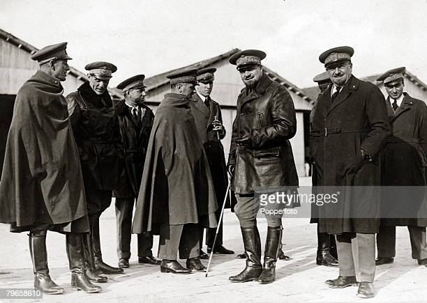 circa 1930's Marshal Italo Balbo of Italy pictured with the pilots he led when their seaplanes he led made an historic flight from Orbetello Italy to...