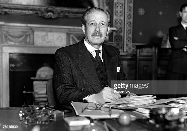 13th April 1955 British Foreign Secretary Harold MacMillan pictured at his desk in Whitehall London