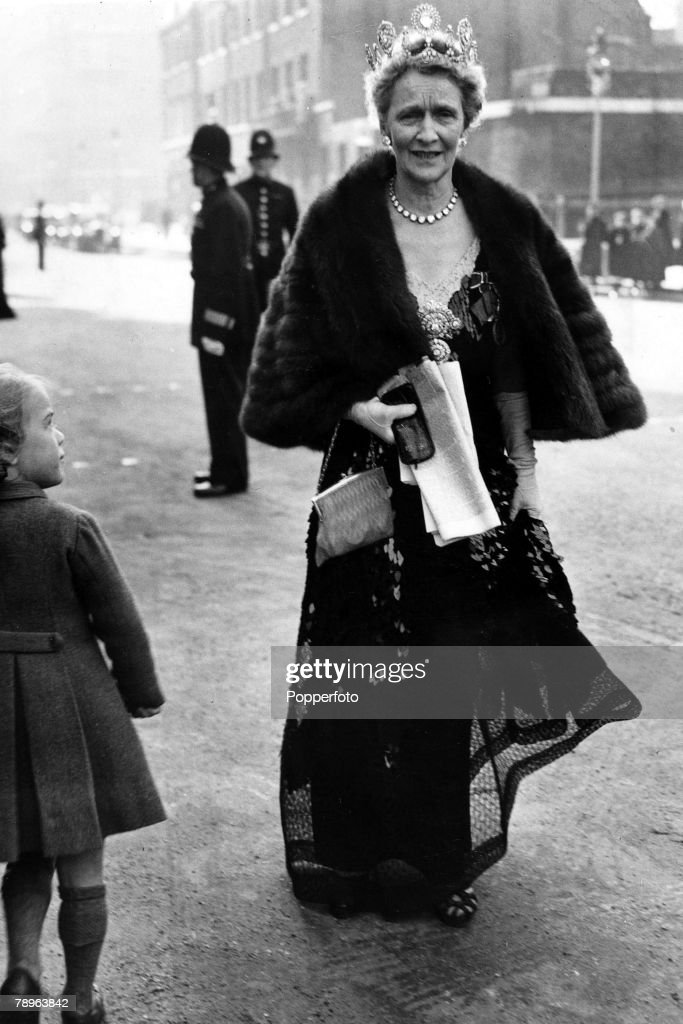 Personalities. Politics. pic: 26th October 1948. Lady Nancy Astor seen leaving after the State Opening of Parliament at Westminster in tiara and furs. Lady Astor, 1879-1964 born in America became the first woman to hold a seat in the House of Commons when : News Photo