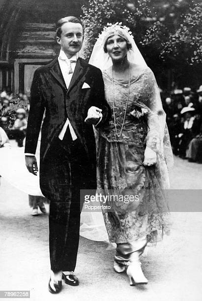 June 1919 The wedding of Alfred Duff Cooper and Lady Diana Manners showing them leaving the church