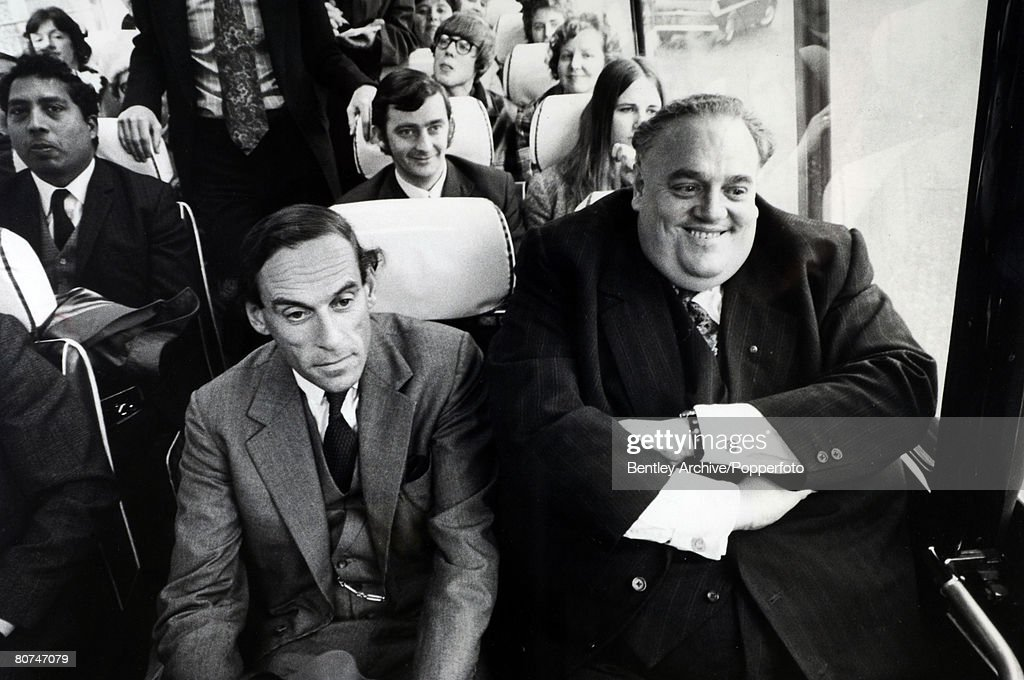 Personalities Politics. pic: November 1972. Rochdale. Cyril Smith, (born 1928) Liberal Democrat politician,having just been elected as a Liberal MP, sits on the Liberal bus next to party leader Jeremy Thorpe, who he tends to overshadow somewhat, due to h : News Photo