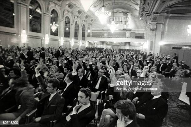 Personalities Publishing Politics pic 11th October 1969 Supporters of Robert Maxwell demonstrate their support with a show of hands at a London...