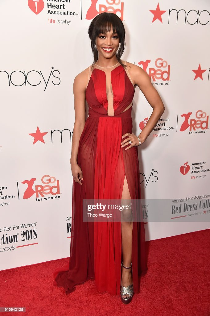 TV personalities Rachel Lindsay attends the American Heart Association's Go Red For Women Red Dress Collection 2018 presented by Macy's at Hammerstein Ballroom on February 8, 2018 in New York City.