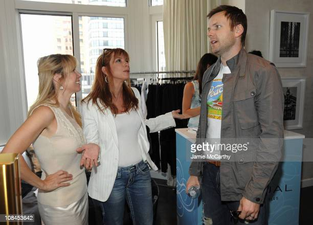TV personalities Ramona Singer and Jill Zarin talk with Joel McHale at the Lia Sophia Upfront Suite at The London Hotel on May 19 2009 in New York...