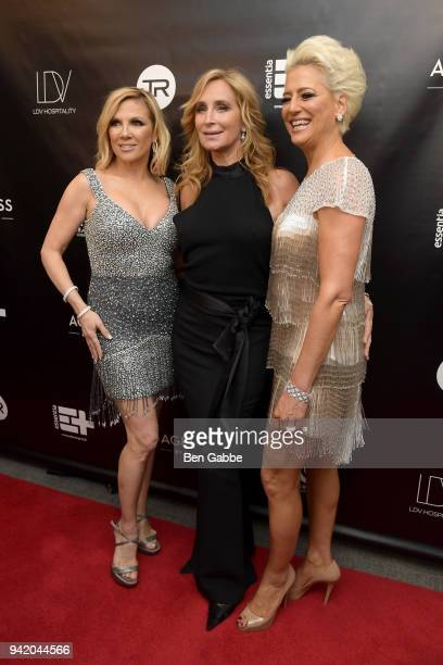 TV personalities Ramona Singer Sonja Morgan and Dorinda Medley attend The Real Housewives of New York Season 10 Premiere Viewing Party at The Seville...