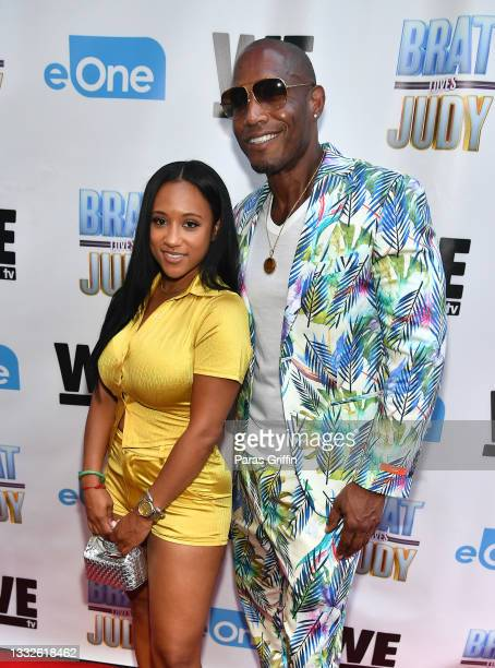"""Personalities Rhonda Saunders and Montana attend """"Brat Loves Judy"""" WE tv watch party at Views Bar and Grill Atlanta on August 05, 2021 in Atlanta,..."""