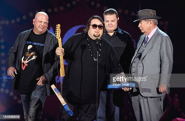 TV Personalities Rick Harrison Austin 'Chumlee' Russell Corey Harrison and Richard Harrison of 'Pawn Stars' speak onstage at the American Country...