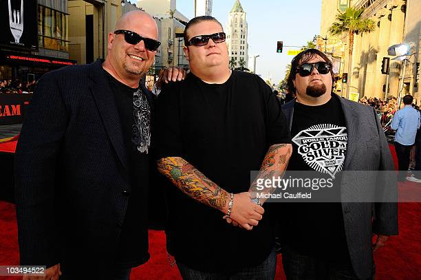 TV personalities Rick Harrison Corey Harrison and Austin Russel arrive at The ATeam Los Angeles premiere held at Grauman's Chinese Theatre on June 3...