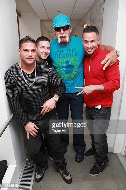 TV personalities Ronnie OrtizMagro Vinny Guadagnino Hulk Hogan and Mike 'The Situation' Sorrentino visit together at SiriusXM Studio on October 10...