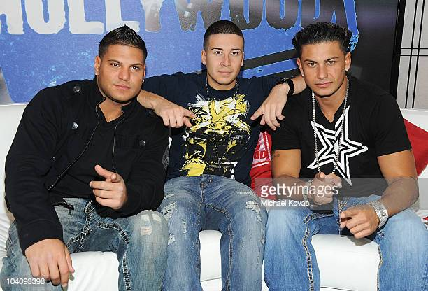 TV personalities Ronnie OrtizMagro Vinny Guadagnino Paul 'Pauly D' DelVecchio of the cast of 'The Jersey Shore' visit Young Hollywood Studios on...