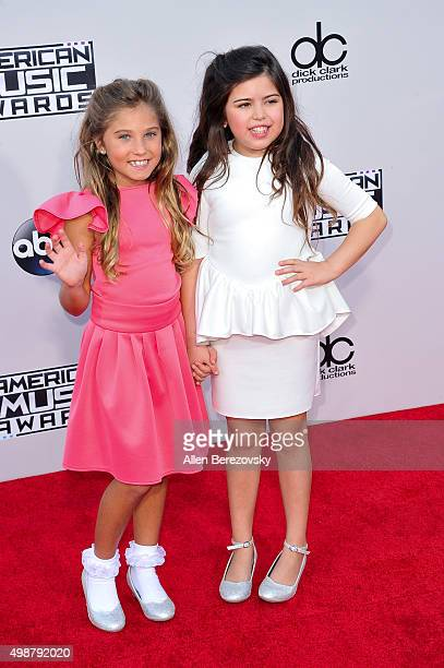 TV personalities Rosie McClelland and Sophia Grace Brownlee arrive at the 2015 American Music Awards at Microsoft Theater on November 22 2015 in Los...