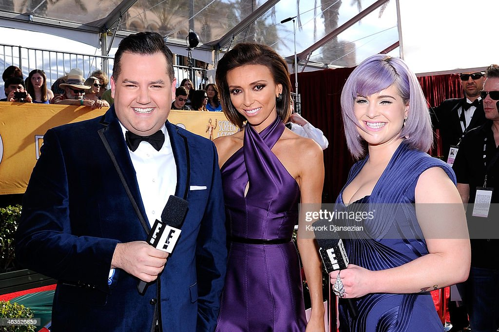 TV personalities Ross Mathews, Giuliana Rancic and Kelly Osbourne attend the 20th Annual Screen Actors Guild Awards at The Shrine Auditorium on January 18, 2014 in Los Angeles, California.