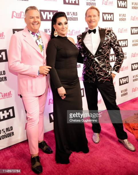TV personalities Ross Mathews Michelle Visage and Carson Kressley attend the RuPaul's Drag Race Season 11 Finale Taping at Orpheum Theatre on May 13...