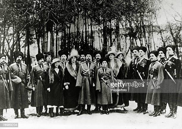 circa 1910's Russian Tsar Nicholas II with son and daughters and a group of Cossack officers just before the Revolution