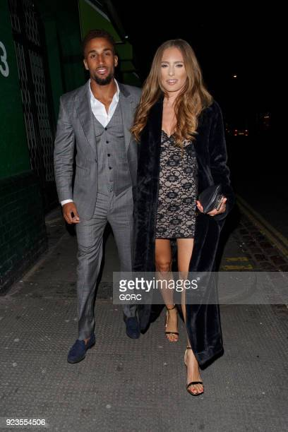 TV personalities Ryan Cleary and Georgie Clarke arriving at Embargo nightclub Chelsea on February 23 2018 in London England