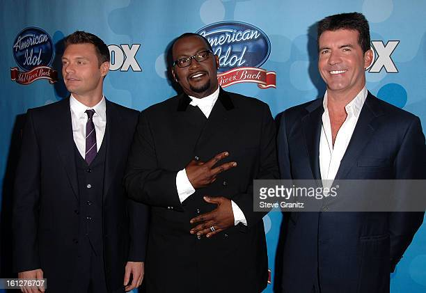 TV personalities Ryan Seacrest Randy Jackson and Simon Cowell arrive at the taping of Idol Gives Back held at the Kodak Theatre on April 6 2008 in...