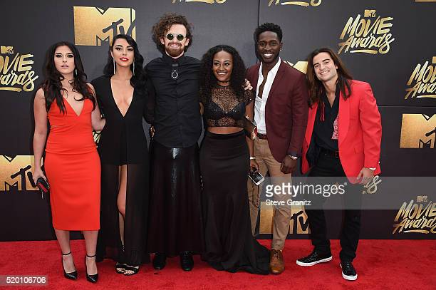 TV personalities Sabrina Kennedy Kailah Casillas Chris Hall CeeJai' Jenkins Dean BartPlange and Dione Mariani attend the 2016 MTV Movie Awards at...