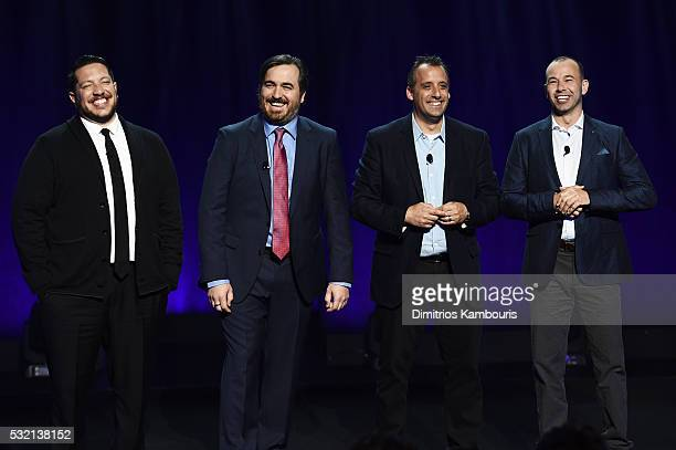 TV personalities Sal Vulcano Brian Quinn Joe Gatto and James Murray of Impractical Jokers appear on stage during the Turner Upfront 2016 show at The...