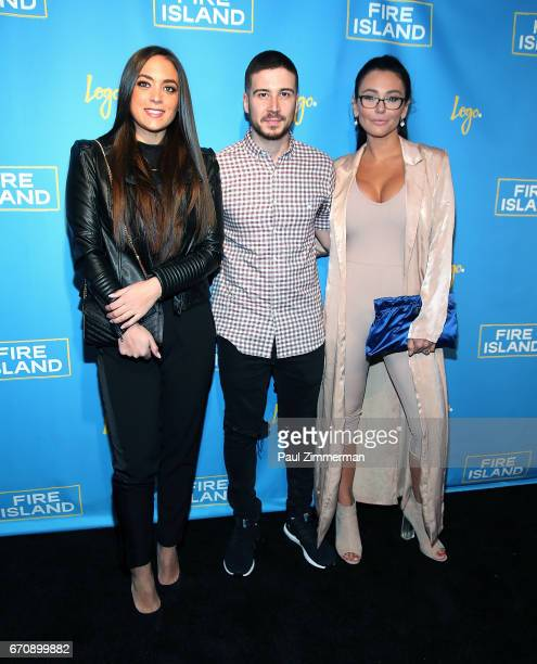 "Personalities Sammi Giancola, Vinny Guadagnino and Jennifer 'JWoww' Farley attend the ""Fire Island"" New York Premiere at Atlas Social Club on April..."