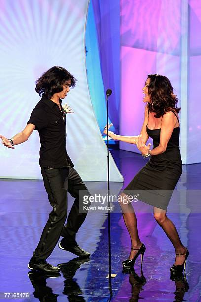 TV personalities Sanjaya Malakar and Janice Dickinson present an award onstage during the 2007 Fox Reality Channel Really Awards held at Boulevard 3...