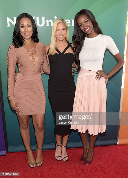 TV personalities Sasha Gates Barbie Blank and Tia Shipman attend the 2016 NBCUniversal Summer Press Day at Four Seasons Hotel Westlake Village on...