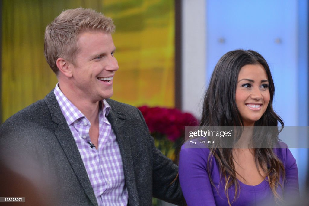 TV personalities Sean Lowe (L) and Catherine Giudici tape an interview at 'Good Morning America' at the ABC Times Square Studios on March 12, 2013 in New York City.