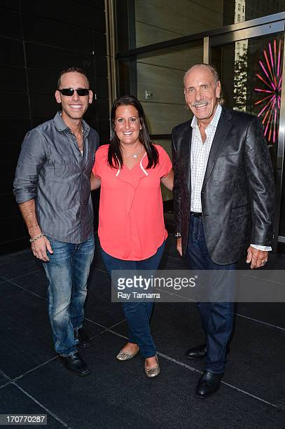 Personalities Seth Gold, Ashley Broad, and Les Gold leave their Midtown Manhattan hotel on June 17, 2013 in New York City.