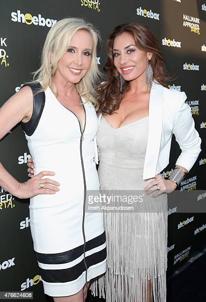 TV personalities Shannon Beador and Lizzie Rovsek attend Shoebox's 29th Birthday Celebration hosted by Rob Riggle at The Improv on June 10 2015 in...