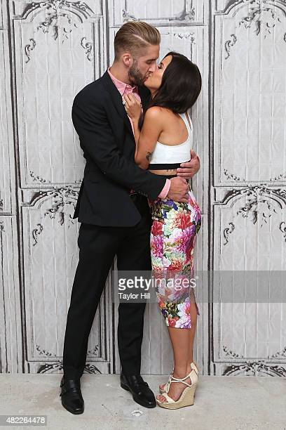 TV personalities Shawn Booth and Kaitlyn Bristowe speak during AOL Build Presents 'After the Final Rose' at AOL Studios In New York on July 29 2015...