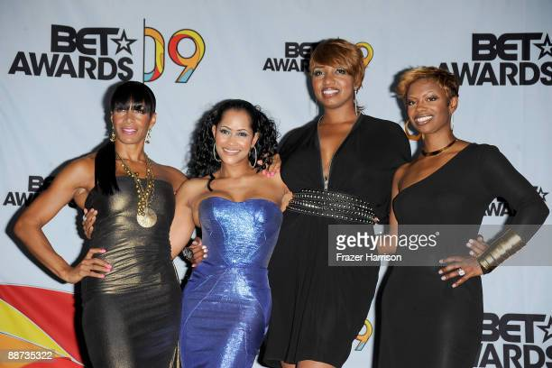 """Personalities Sheree Whitfield, Lisa Wu Hartwell, NeNe Leakes and Kandi Burruss from """"The Real Housewives of Atlanta"""" pose in the press room during..."""