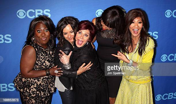 Personalities Sheryl Underwood Sara Gilbert Sharon Osbourne Aisha Tyler and Julie Chen attend the 2013 CBS Upfront at The Tent at Lincoln Center on...
