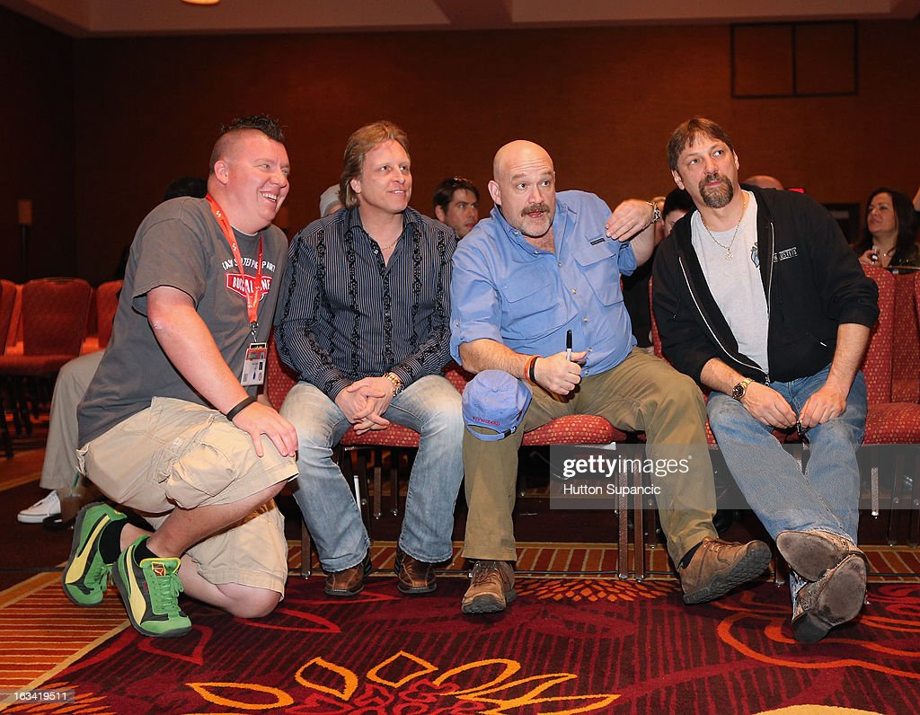 TV personalities Sig Hansen, Keith Colburn and Jonathan Hillstrand pose with a fan (Far L) at Deadliest Catch's Twitter For Tough Guys during the 2013 SXSW Music, Film + Interactive Festival at Hyatt Regency Austin on March 9, 2013 in Austin, Texas.