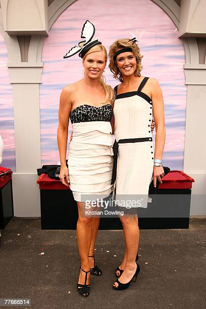 TV Personalities Sonia Kruger and Anna Coren pose together at the Emirates Marquee on the first day of the Melbourne Cup Carnival Derby Day at...