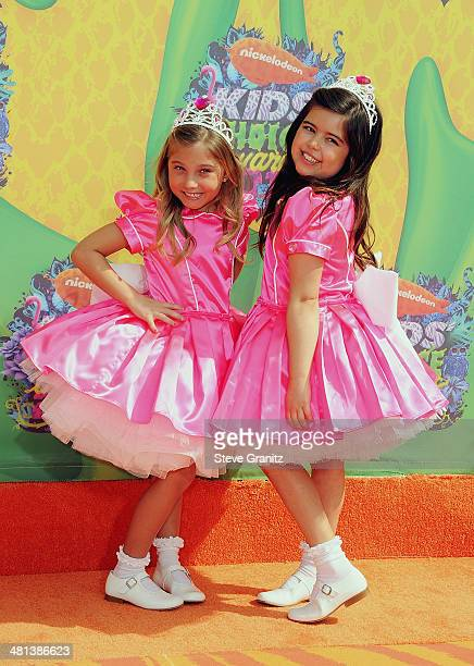 TV personalities Sophia Grace Brownlee and Rosie Grace attend Nickelodeon's 27th Annual Kids' Choice Awards held at USC Galen Center on March 29 2014...