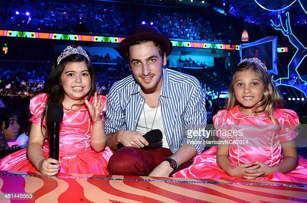 TV personalities Sophia Grace Brownlee Rosie Grace McClelland and actor Kendall Schmidt onstage Nickelodeon's 27th Annual Kids' Choice Awards held at...