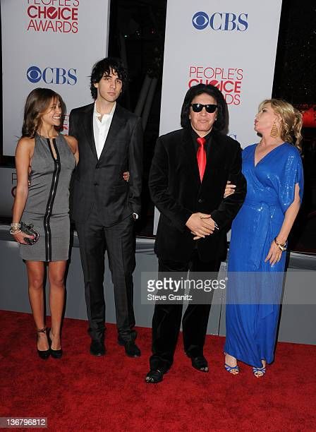 TV personalities Sophie Simmons Nick Simmons Gene Simmons and Shannon Tweed arrive at the People's Choice Awards 2012 at Nokia Theatre LA Live on...