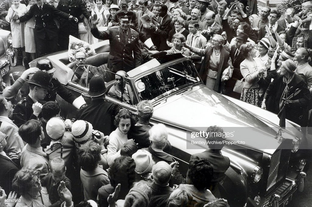 15th July 1961, London, Russian cosmonaut Yuri Gagarin, (1934-1968) is surrounded by large crowds on his 4 day visit to Great Britain, Yuri Gagarin was the first man in space in 1961 in the Vostok spaceship