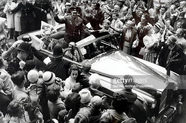 15th July 1961 London Russian cosmonaut Yuri Gagarin is surrounded by large crowds on his 4 day visit to Great Britain Yuri Gagarin was the first man...