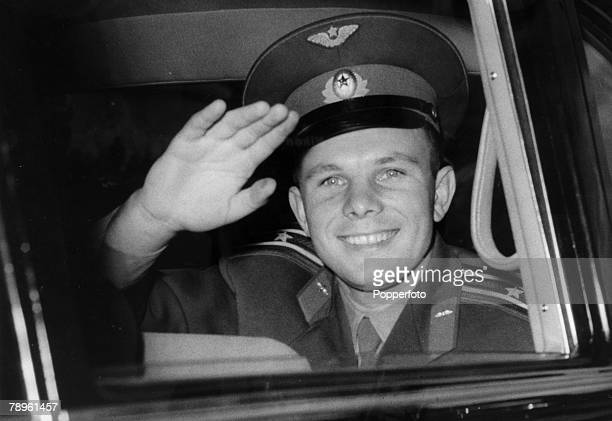 July 1961 London Russian cosmonaut Yuri Gagarin is pictured arriving at Buckingham Palace during his 4 day visit to Great Britain Yuri Gagarin was...