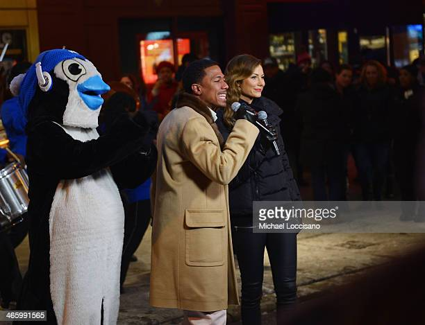 TV personalities Stacy Keibler and Nick Cannon attend TLC's performance during VH1's 'Super Bowl Blitz Six Nights Six Concerts' at Beacon Theatre on...