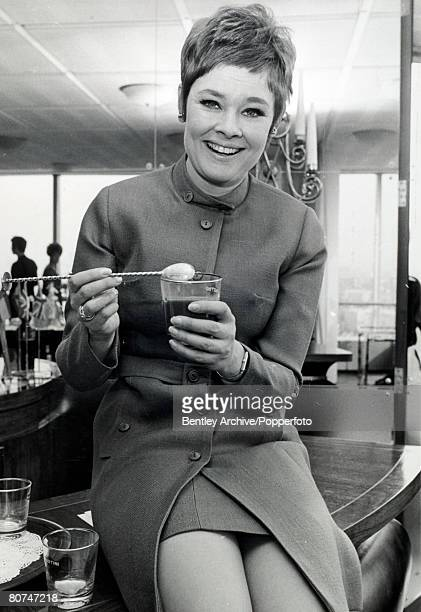 10th April 1968 Palace Theatre London British actress Judi Dench one of the greatest actors of the postwar period pictured about to enjoy a drink in...