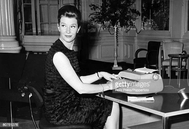 """Personalities, Stage and Screen, pic: February 1964, Canadian born actress Lois Maxwell who plays """"Miss Moneypenny"""" in the James Bond films at the..."""