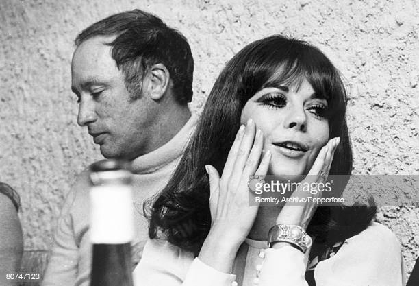 January 1970 American film star Natalie Wood pictured alongside Canadian Premier Pierre Trudeau while on a skiing holiday in the French Alps Natalie...