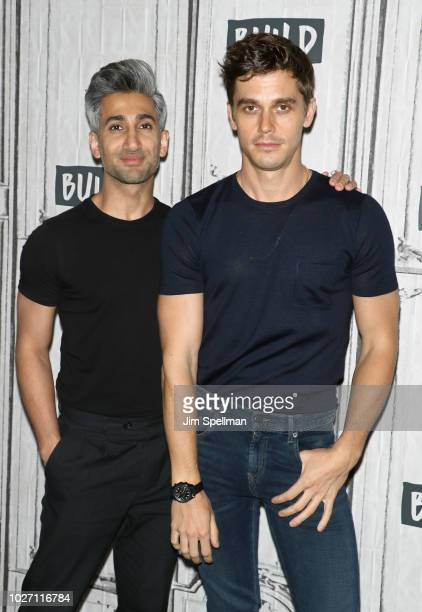TV personalities Tan France and Antoni Porowski attend Build Brunch to discuss ' Queer Eye' at Build Studio on September 5 2018 in New York City