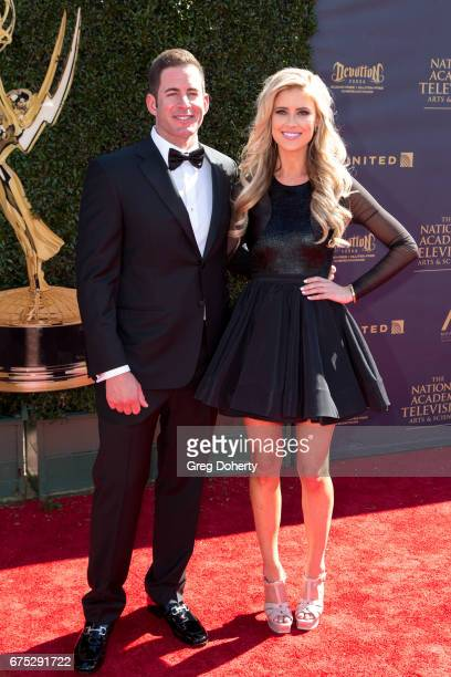Personalities Tarek and Christina El Moussa arrive at the 44th Annual Daytime Emmy Awards at Pasadena Civic Auditorium on April 30, 2017 in Pasadena,...