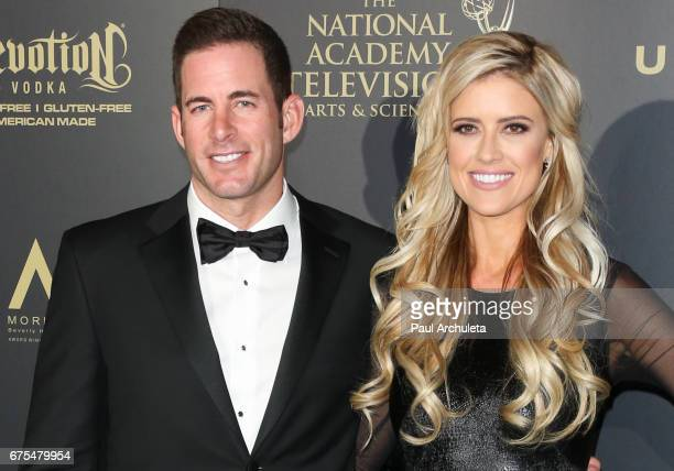 Personalities Tarek El Moussa and Christina El Moussa attend the press room for the 44th annual Daytime Emmy Awards at Pasadena Civic Auditorium on...