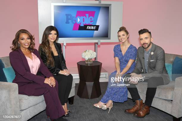 Personalities Teresa Guidice, Dolores Catania, hosts Andrea Boehlke and Jeremy Parsons on the set of People Now on February 05, 2020 in New York,...