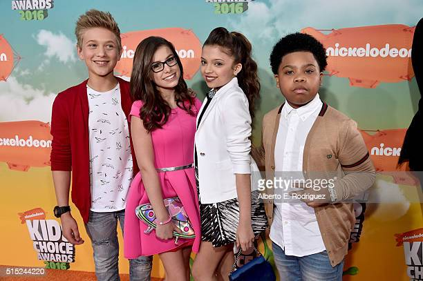 TV Personalities Thomas Kuc Madisyn Shipman Cree Cicchinoand Benjamin Flores Jr attend Nickelodeon's 2016 Kids' Choice Awards at The Forum on March...