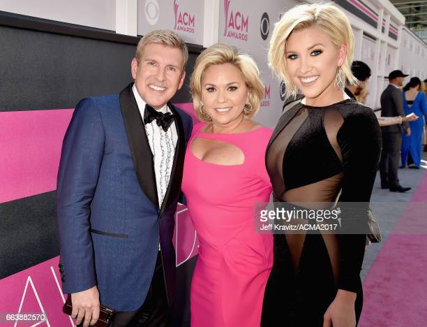 TV personalities Todd Chrisley and Julie Chrisley and Savannah Chrisley attend the 52nd Academy Of Country Music Awards at Toshiba Plaza on April 2...