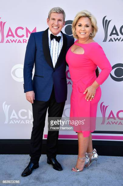 TV personalities Todd Chrisley and Julie Chrisley attend the 52nd Academy Of Country Music Awards at Toshiba Plaza on April 2 2017 in Las Vegas Nevada